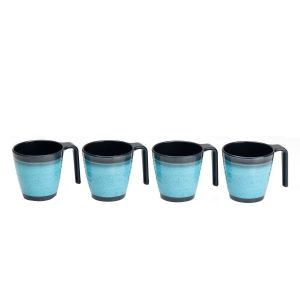GRANITE AQUA STACKING MUG SET (4)